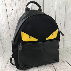 二手 FENDI 7VZ012 趣味 黃眼 怪獸包 後背包 雙肩包