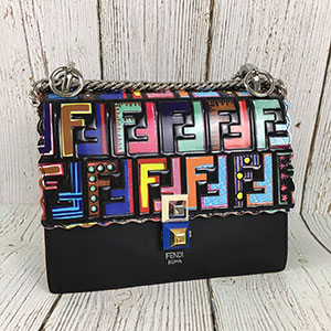 二手 FENDI 芬迪 8M0381H 彩色 FF紋 鍊條包 肩背包 小包