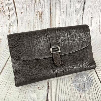 Longchamp 咖啡色 皮革 長夾 中夾 錢包 錢夾