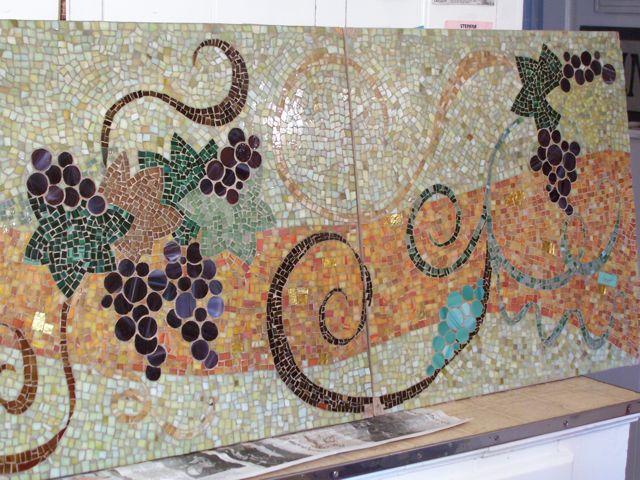Grapes and Leaves Wine Tabletop  Brandi Fletcher Mosaic