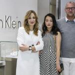 Laura Burdese, Zhang Yi, Ulrich Grimm and Nicole Warne attend the Calvin Klein Watches & Jewelery booth at Baselworld 2015