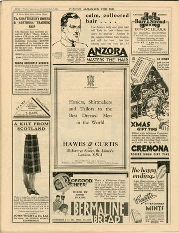 Copy from the ad featured at the iconic Punch Almanack in 1931.