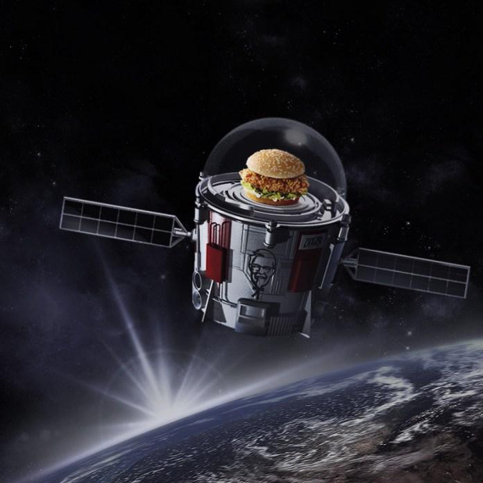 The KFC Zinger chicken sandwich in space.