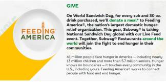 "Subway Launches ""Live Feed"" in Food Donation Efforts"