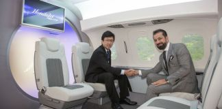 Honda Aircraft President and CEO Michimasa Fujino and Jetex CEO and President Adel Mardini