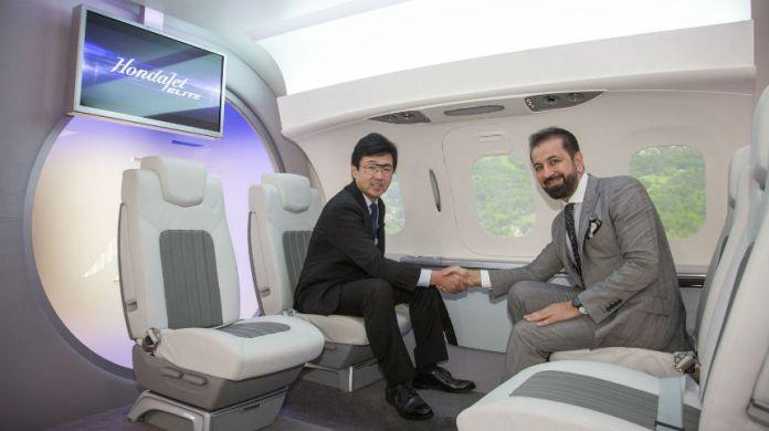 Honda Aircraft President and CEO Michimasa Fujino and Jetex CEO and President Adel Mardini