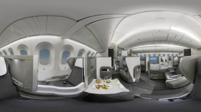 British Airways showcases Club World cabin via virtual reality experience.