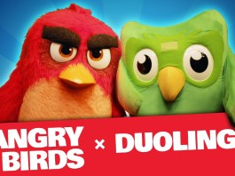 Red and Duo team up in an Angry Birds x Duolingo crossover