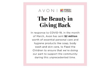 Avon steps up its 16-year partnership with Feed the Children
