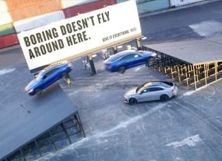 Kia Motors introduces it's latest sedan with a daring triple threat stunt