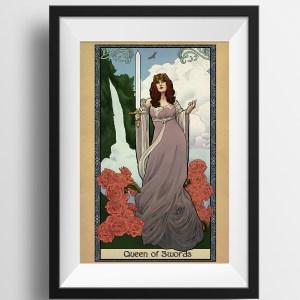 Tabletop Tarot – Queen of Swords – Print