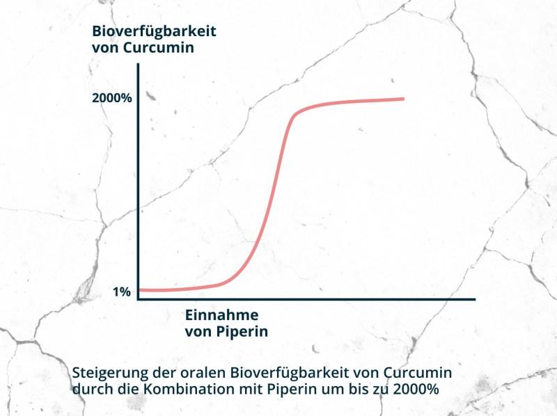 Steigung der oralen Bioverfügbarkeit von Curcumin durch die Kombination mit Piperin um bis zu 2000%