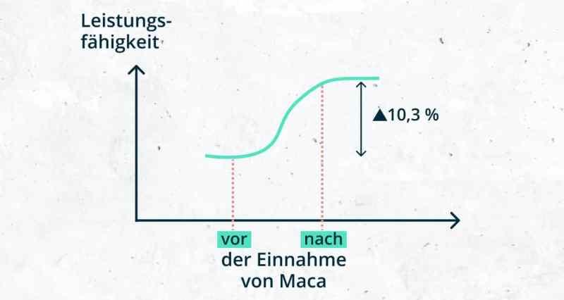 Leistungsfähigkeit vor/nach der Einnahme von Maca