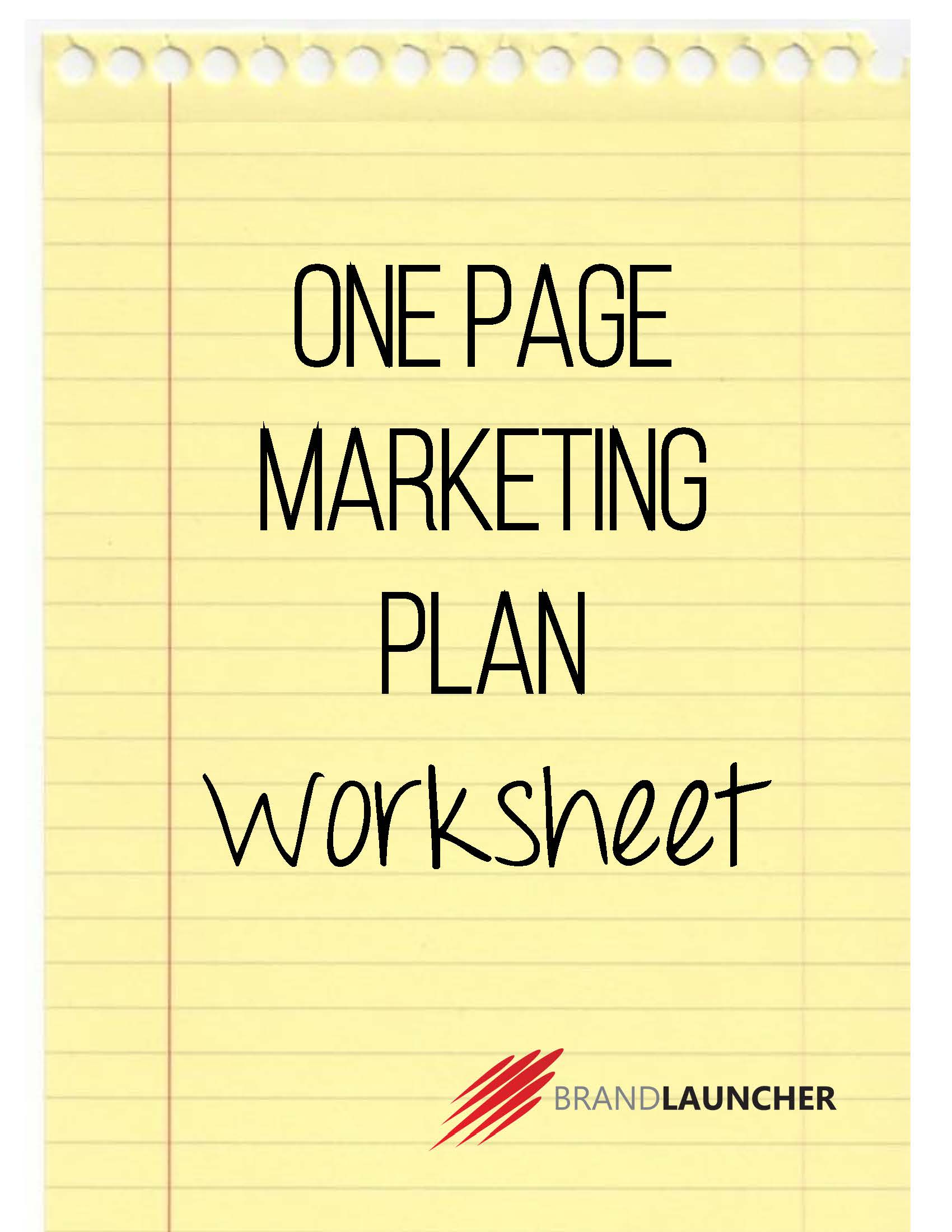 One Page Marketing Plan Worksheet