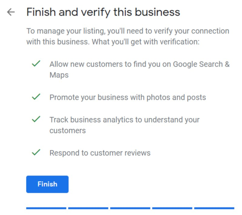Set Up Google My Business Listing Step 7: Finish and Verify Screenshot