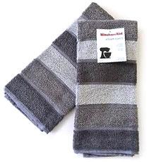 Grey striped KitchenAid hand towels.