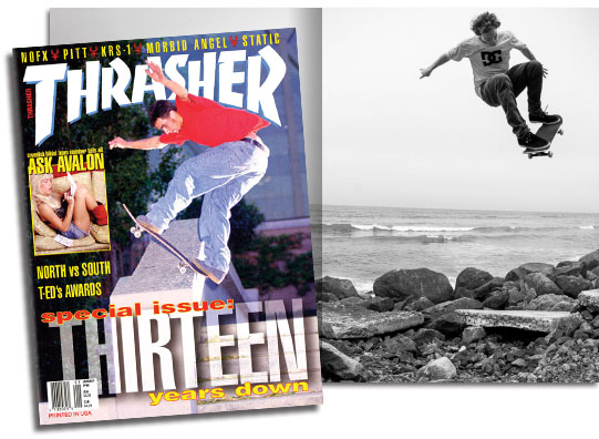 Thrasher magazine from the 90s with a guy in a DC Shoes shirt