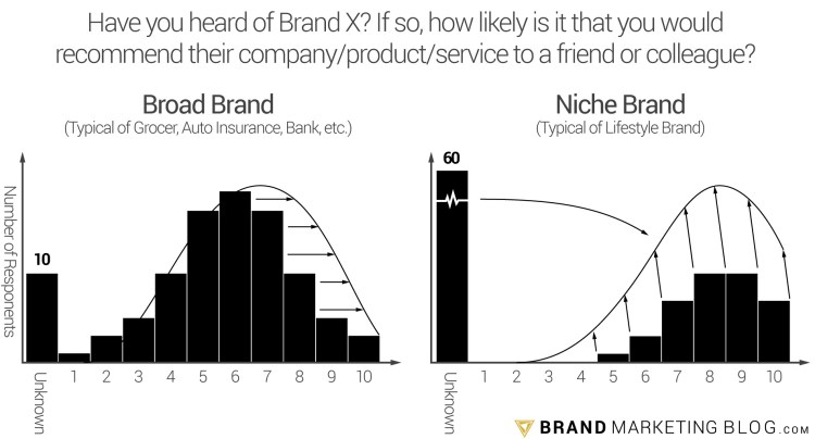 A graph of the growth potential of a broad brand vs. a niche brand.