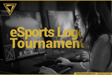 eSports Logo Tournament. Gamer girl looking at a PC screen in a League of Legends tournament