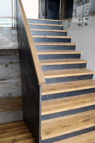The Steel Fin Stair Risers Brandner Design   Hardwood Steps And Risers   Brown Stair   Carpet Tread   Bullnose   Maple   Dark Wood