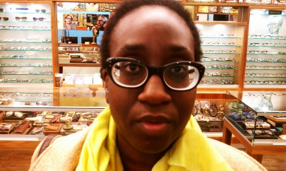 New glasses before Sol Moscot shaved them down.