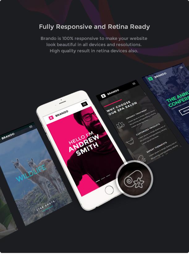 Brando Responsive and Multipurpose OnePage WordPress Theme - 13