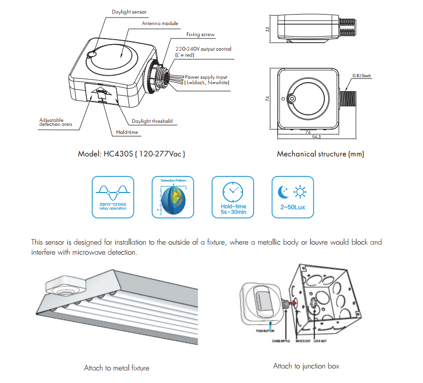 HC430S Attachable Sensor For external installation