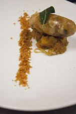 Keith Fuller: sweetbread sausage, sage, brown butter, demi, hazelnuts, winter squash