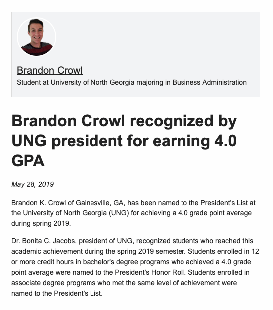 A screenshot of UNG's recognition for Brandon Crowl on his MeritPages profile