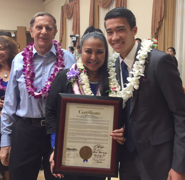 The City Council recognized Emmie Ortega-Anderson as one of 100 influential Filipinas in 2015. Pictured with Emmie and her husband, John. Congrats, Emmie!