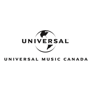 Universal Music Canada logo in front of a black and white globe