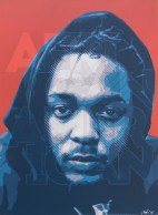 African American (portrait of Kendrick Lamar), 2015. 100 x 100 cm. Spray paint and acrylic on canvas. Available as limited print.