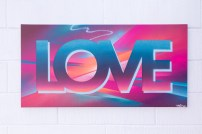 Painted Love: Exuberant, 2015. 100 x 50 cm. Spray paint and acrylic on canvas.
