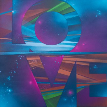 Painted Love: Untitled #3, 2015. 50 x 50 cm. Spray paint and acrylic on canvas.