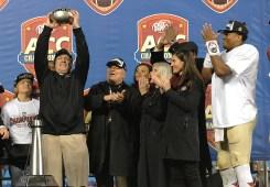 Jimbo raises the ACC Trophy