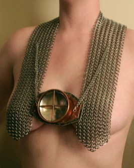 chainmail_sculpture_chest_crank_spin_motion_copper_nickel_steel_front