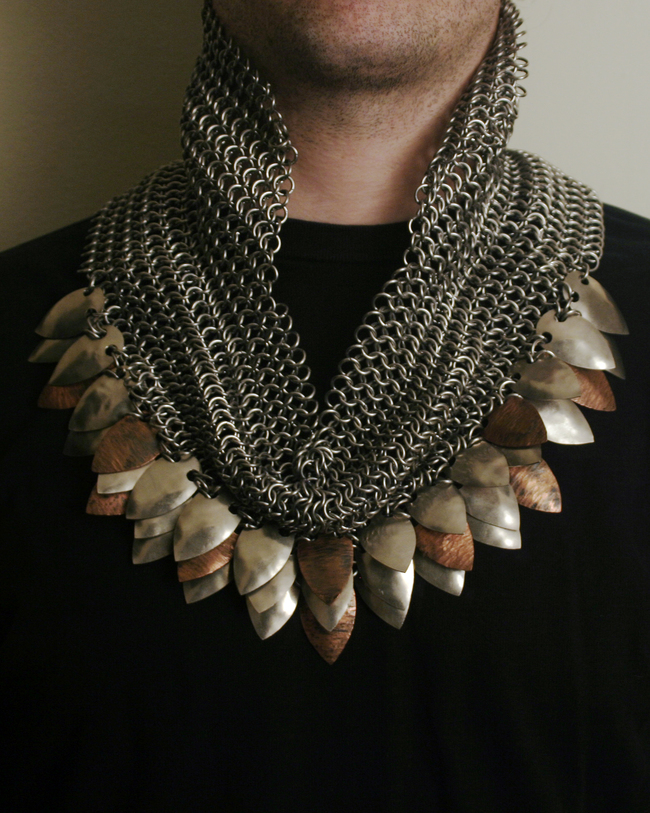 chainmail_sculpture_collar_scales_copper_nickel_steel