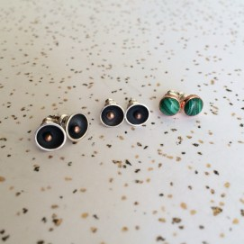 stud_earrings_silver_asteroid_copper_ball_malachite_copper_bezel