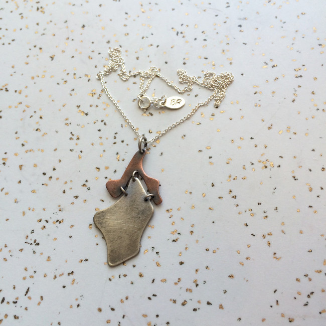 Free-form Silver and Copper Necklace