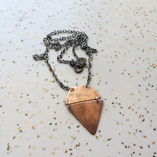 Oxidized Geometric Copper Necklace on Silver Chain
