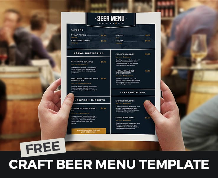 Free Beer Menu Template For Photoshop Amp Illustrator