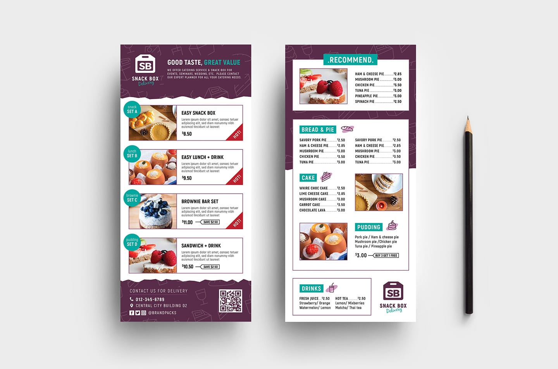 free dl menu rack card template in psd