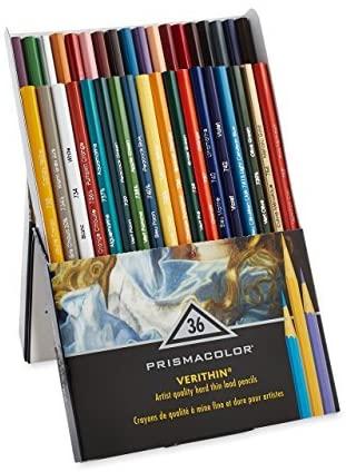 Prismacolor Premier Verithin Colored Pencils, Assorted Colors, 36 Pencils, Pack of 1 Box (2428)