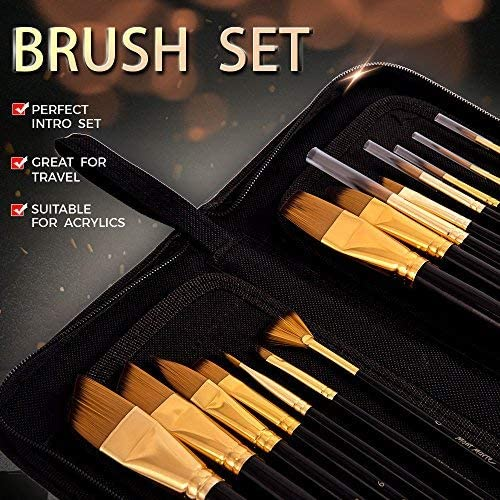 Mont Marte Art Paint Brushes Set, Great for Watercolor, Acrylic, Oil-15 Different Sizes