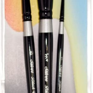 Silver Brush WC-3000S Black Velvet Watercolor Short Handle Brush Set, 3 Per Pack