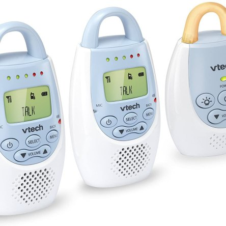 VTech BA72212BL Blue Audio Baby Monitor with up to 1,000 ft of Range, Vibrating Sound-Alert, Talk Back Intercom & Night Light Loop with 2 Parent Units