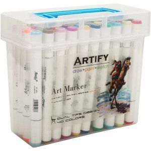 Artify Artist Alcohol Based Art Marker Set 40 Colors Dual Tipped Twin Marker Pens with Plastic Carrying Case
