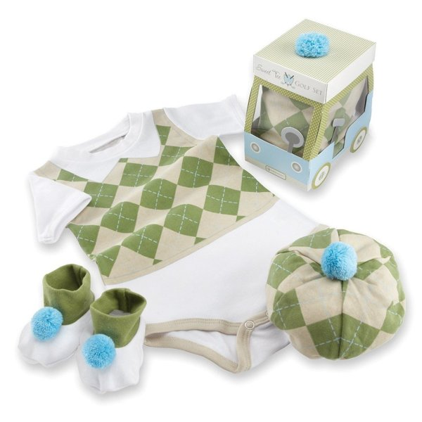 Baby Aspen Three Piece Layette Set in Golf Cart Package, Green-White, 0-6 Mos.