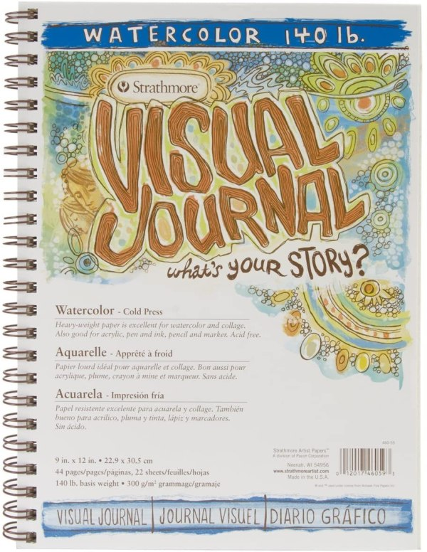 Strathmore (460-59) 400 Series Visual Watercolor Journal, 140 LB Cold Press, 9x12in, 22 Sheets