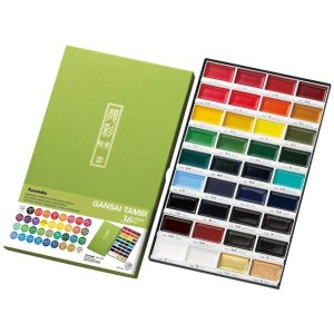 Kuretake Gansai Tambi 12 New Colors Set (36 Colors Set, Water Brush)